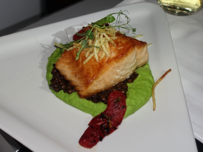 Salmon with Pea Mousseline, Austrian Business Class Review