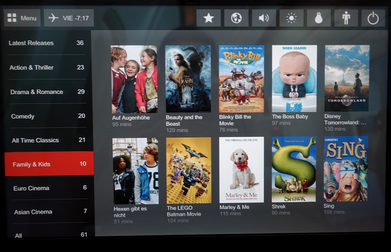 Austrian Airlines IFE Movie Selection