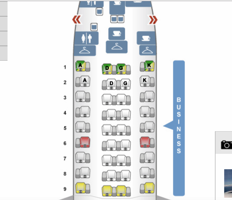 Austrian Airlines 767-300 Seat Map Business Class