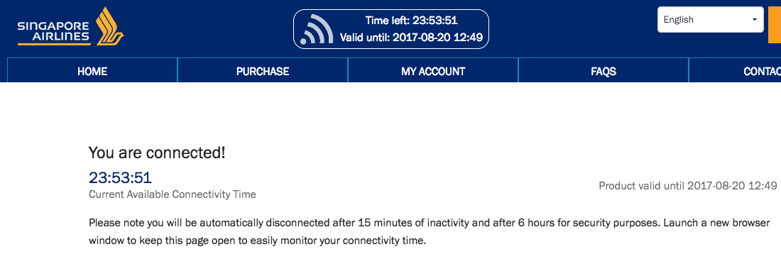 Singapore Airlines WiFi: Confirmation of Connection
