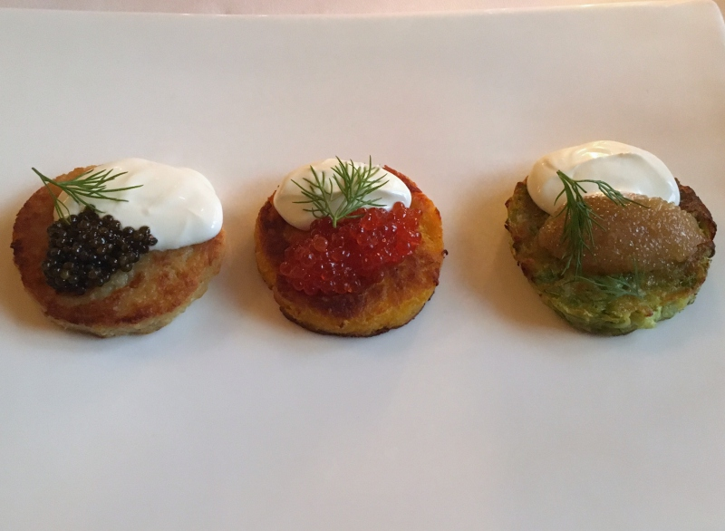 Draniki with Three Types of Caviar, Dom, St. Petersburg Review