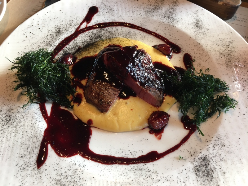 Beef with Corn Puree and Beet Demi-Glace, Taste to Eat Review, St. Petersburg