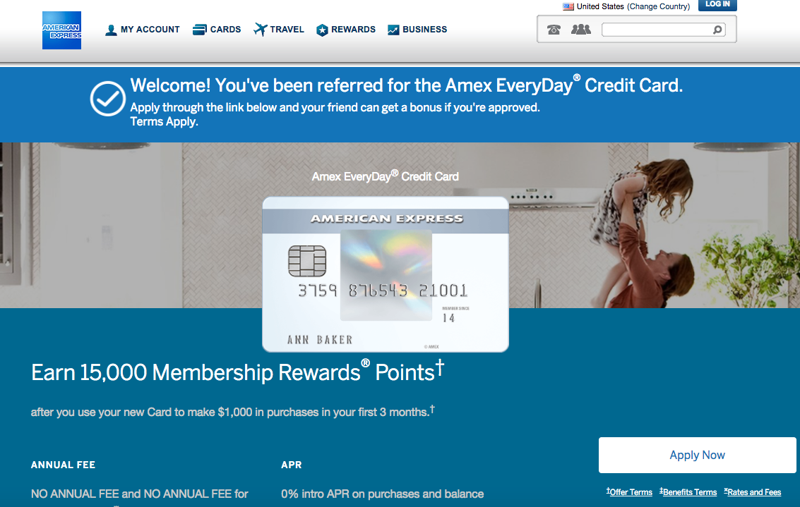 Earn 55K AMEX Points for 6 AMEX EveryDay Card Referrals