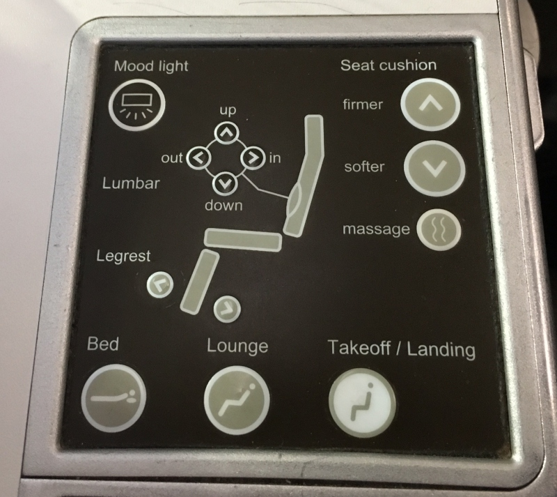 SWISS Business Class Seat Controls