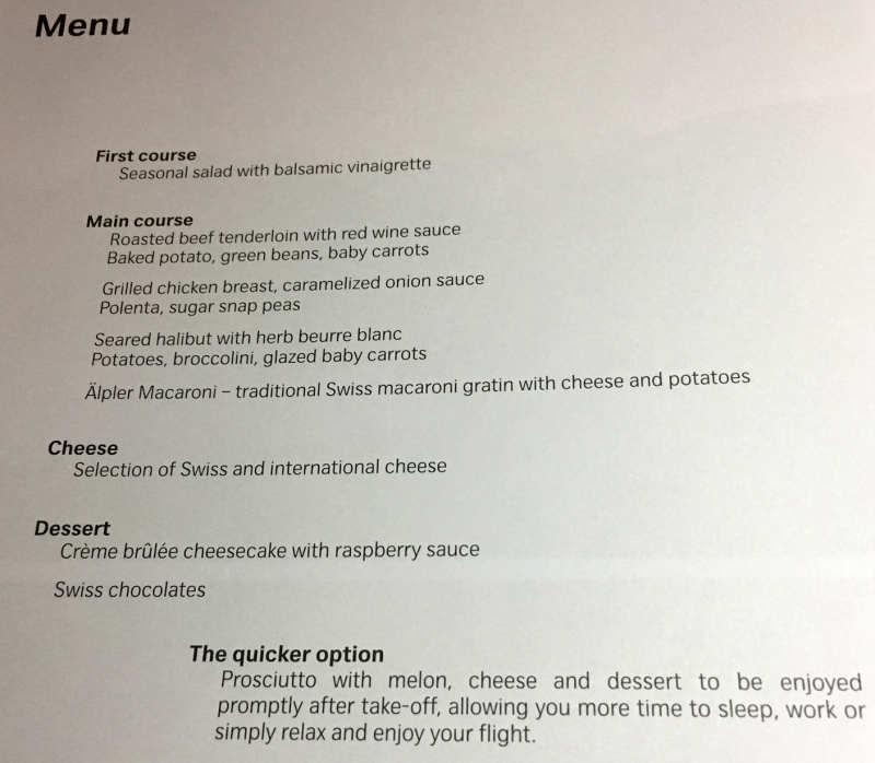 SWISS Business Class Menu-Dinner