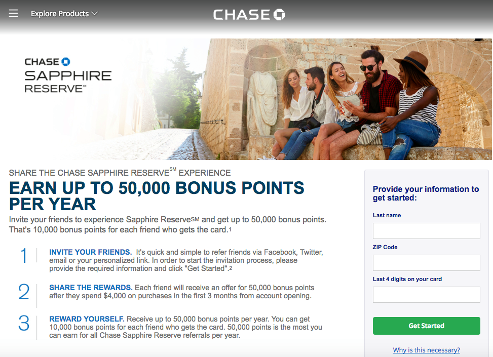 Chase Sapphire Reserve: Refer a Friend for Up to 50K Bonus Points per Year