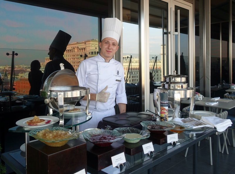 Ritz-Carlton Moscow Club Lounge Chef, Preparing Blini