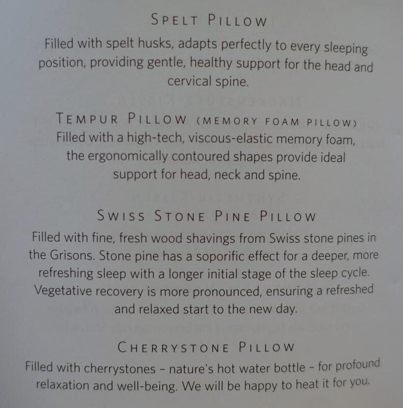 Baur au Lac Pillow Menu