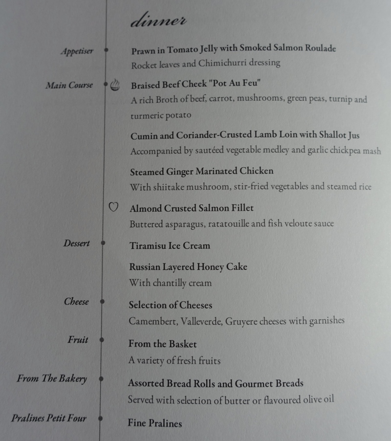Singapore Business Class Dinner Menu