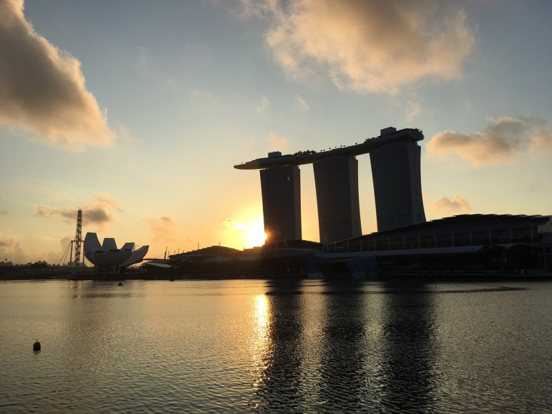 Sunrise View from Premier Bay View Room, Fullerton Bay Singapore
