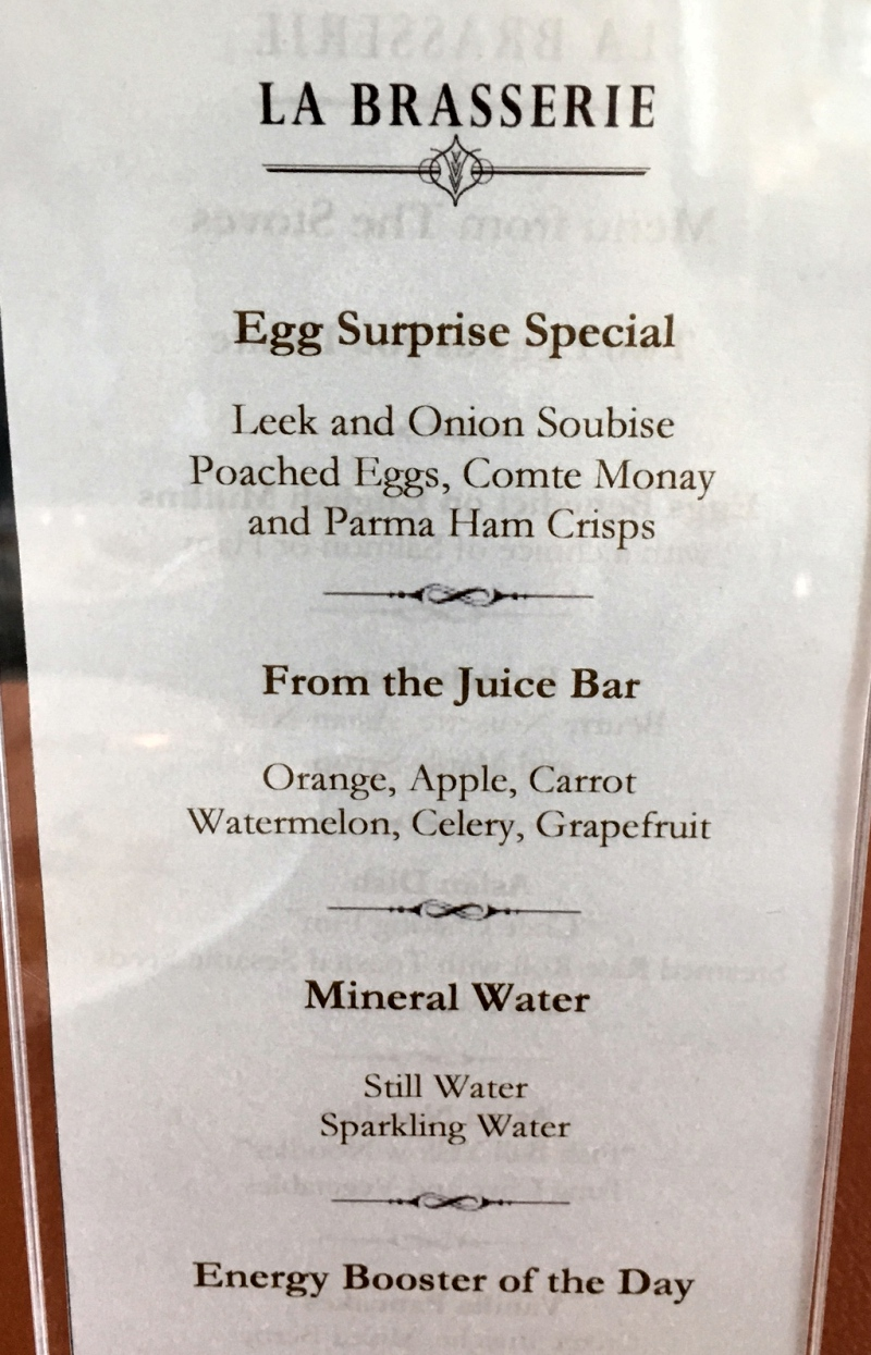 La Brasserie Egg Special and Fresh Squeezed Juice Menu, The Fullerton Bay