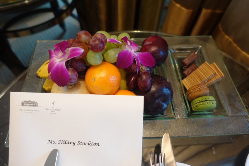Fruit Welcome Amenity and Macarons, The Fullerton Bay Singapore Review