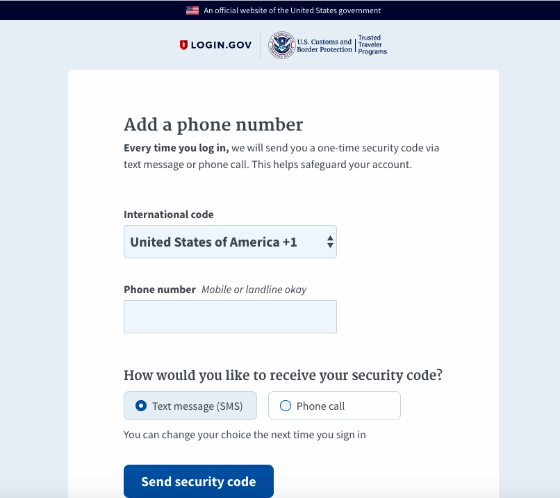 New Global Entry Site: Create a New Login.gov Account
