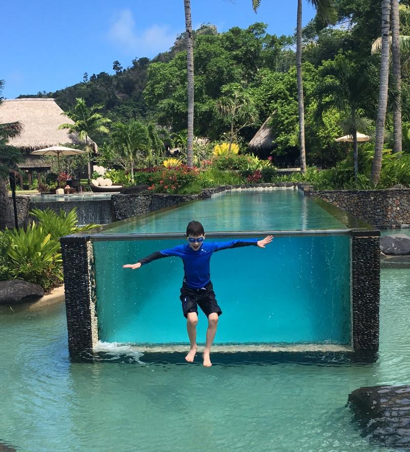 Joy = Jumping into Laucala's Pool