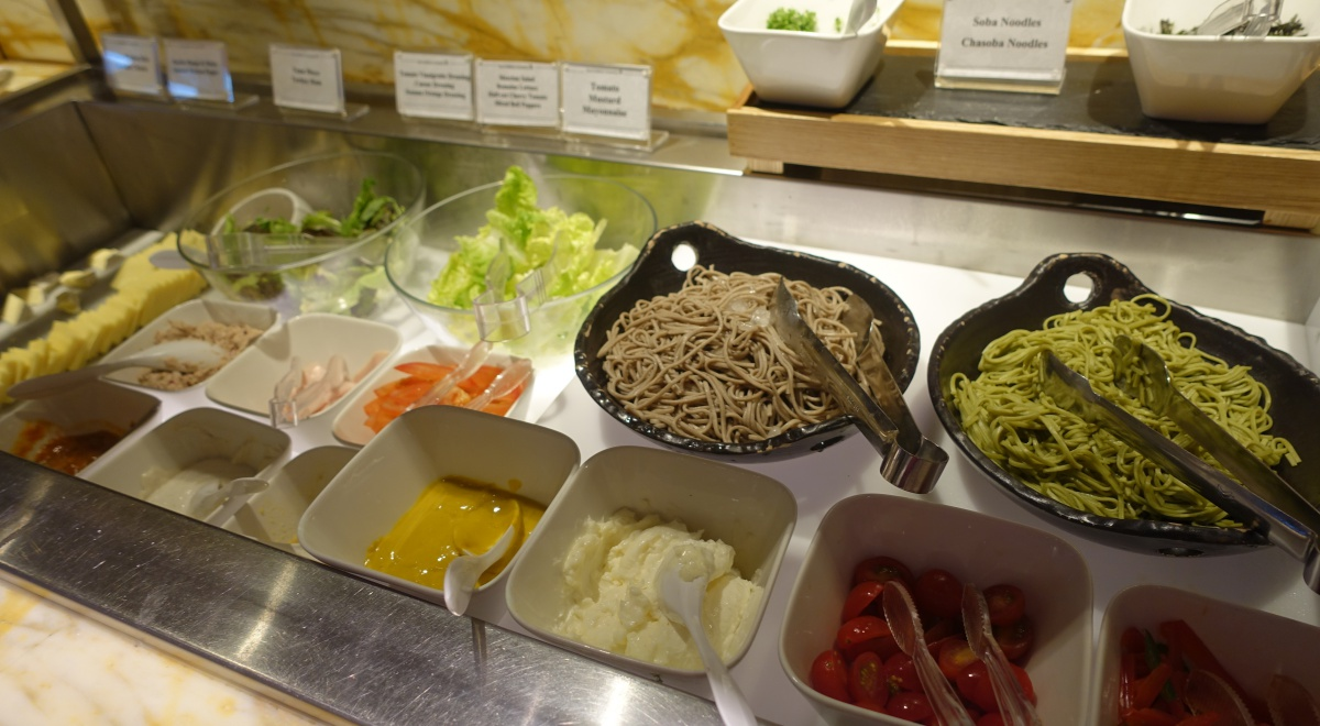 Soba and Salad Buffet, SilverKris Business Class Lounge Review SIN