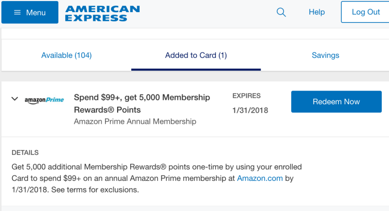 5000 AMEX Points for Buying Amazon Prime (AMEX Offers)