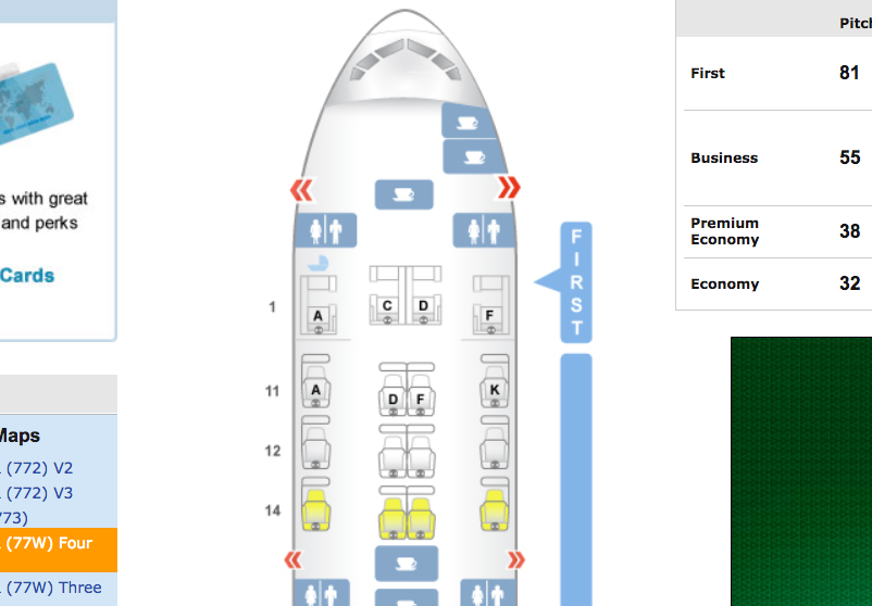 Singapore Airlines Business Class Seat Map, 777-300ER