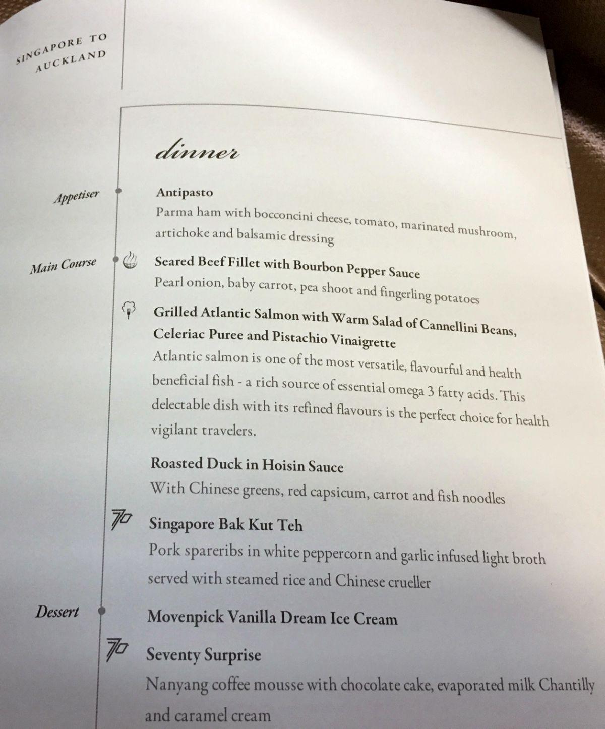 Singapore Airlines Business Class Dinner Menu SIN-AKL