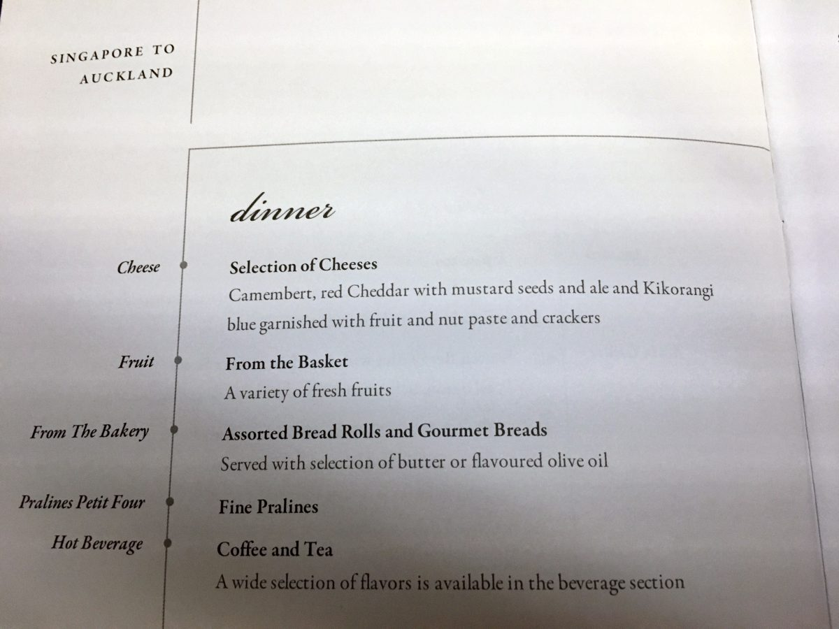 Singapore Business Class Dinner Menu-Cheese and Fruit