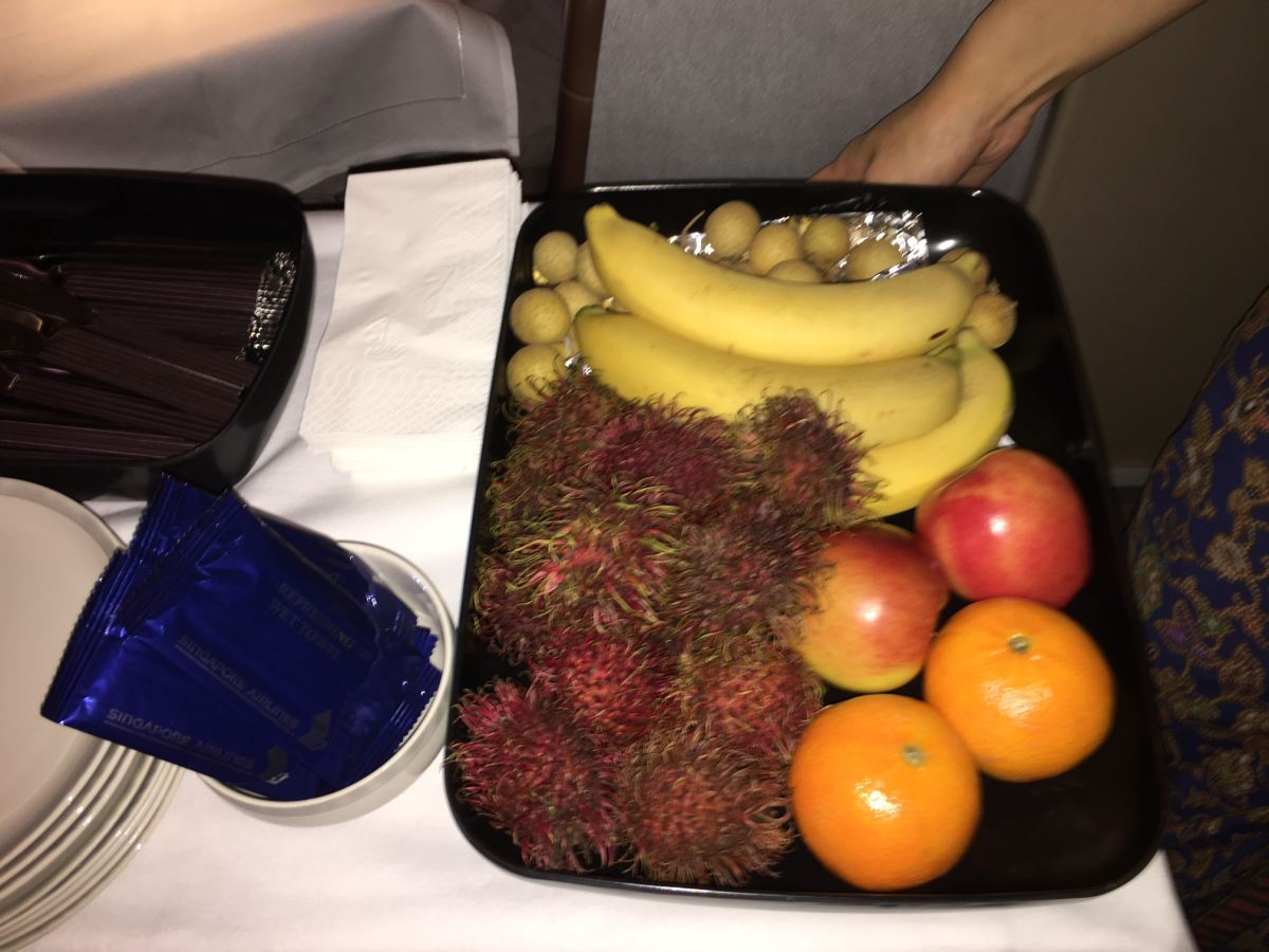 Fruit from Trolley, Singapore Business Class Review