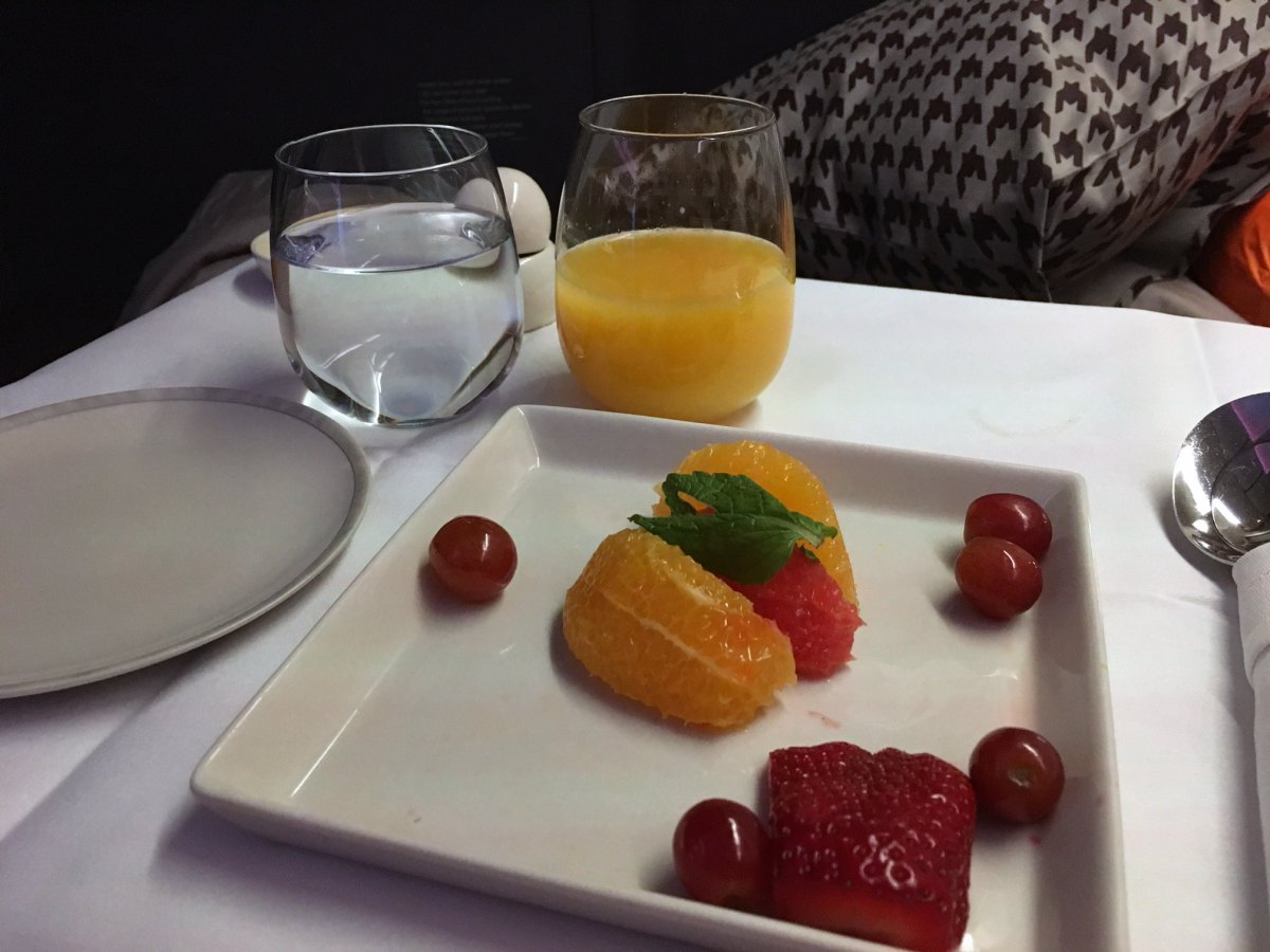 Singapore Business Class Breakfast Juice and Fruit