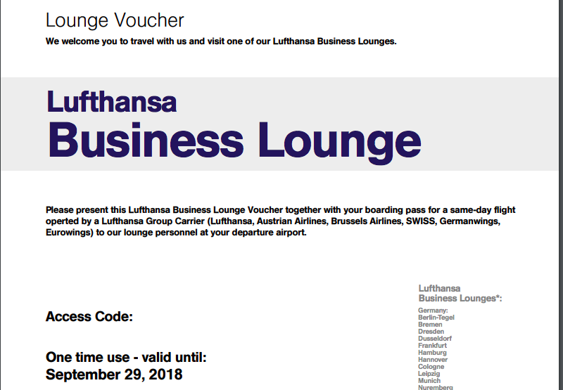 Lufthansa Business Class Lounge Voucher