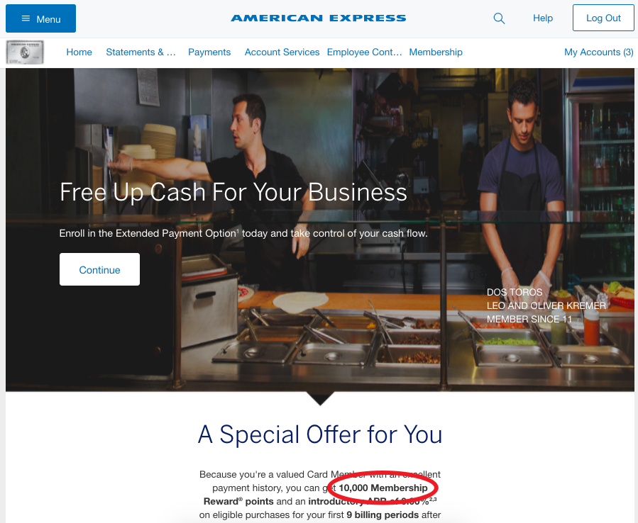 10K AMEX Bonus Points for Extended Payment, AMEX Business Platinum
