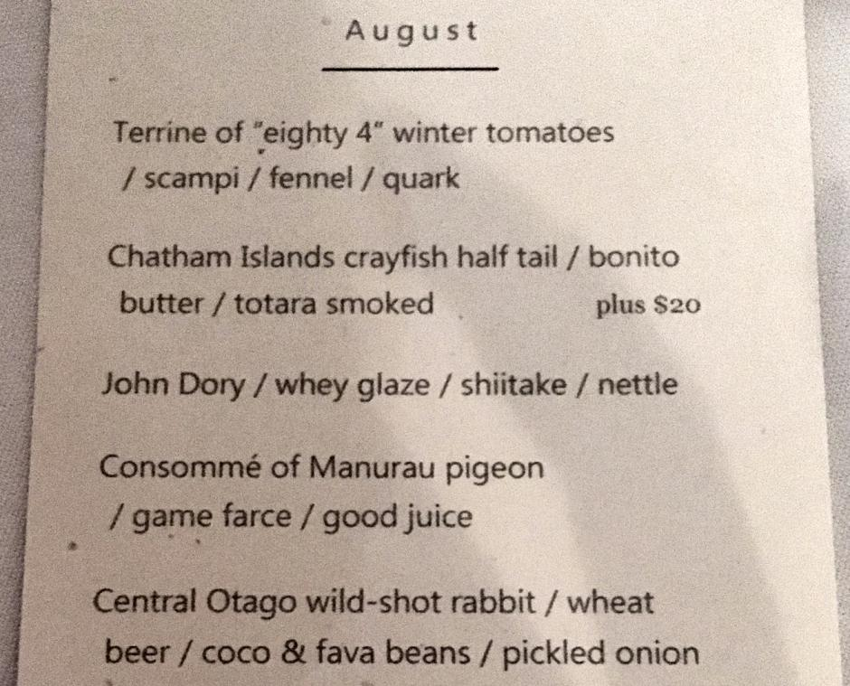 The Grove Tasting Menu, Auckland