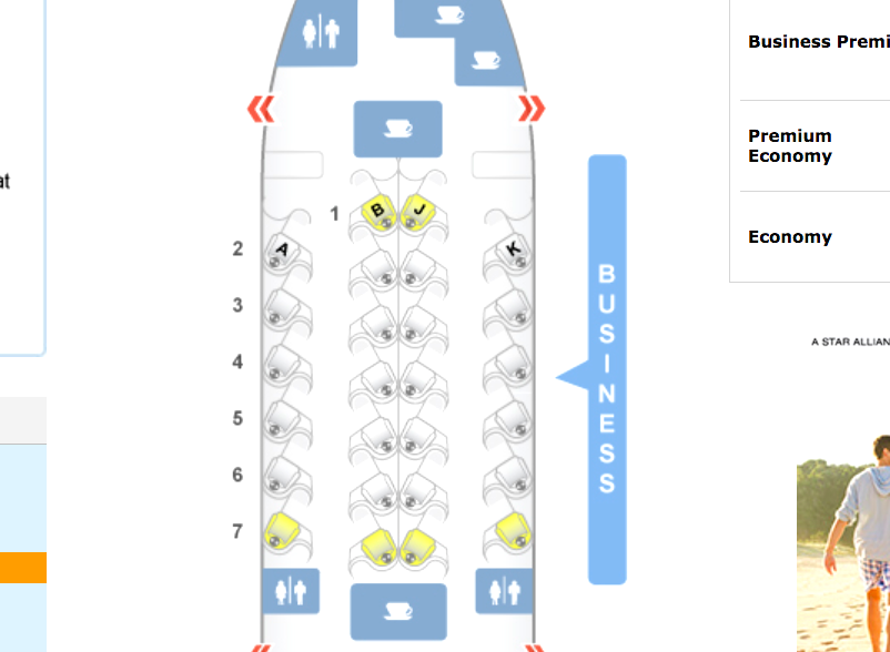 Air New Zealand 777-200 Business Class Seat Map