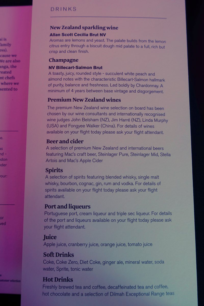 Air New Zealand Business Class Wine List and Drinks