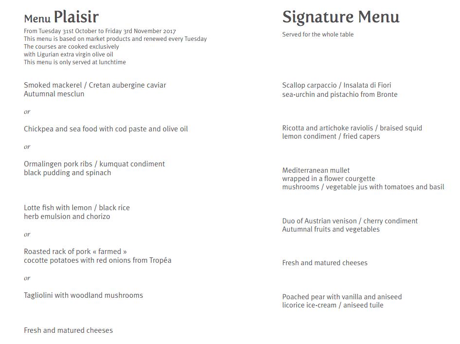 La Table d'Edgard Lunch Menu and Prix Fixe Menu