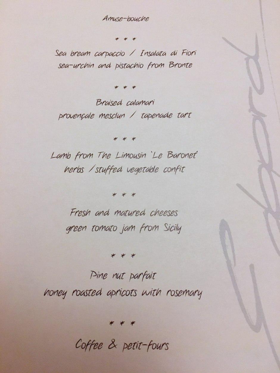 La Table d'Edgard Special Dinner Menu
