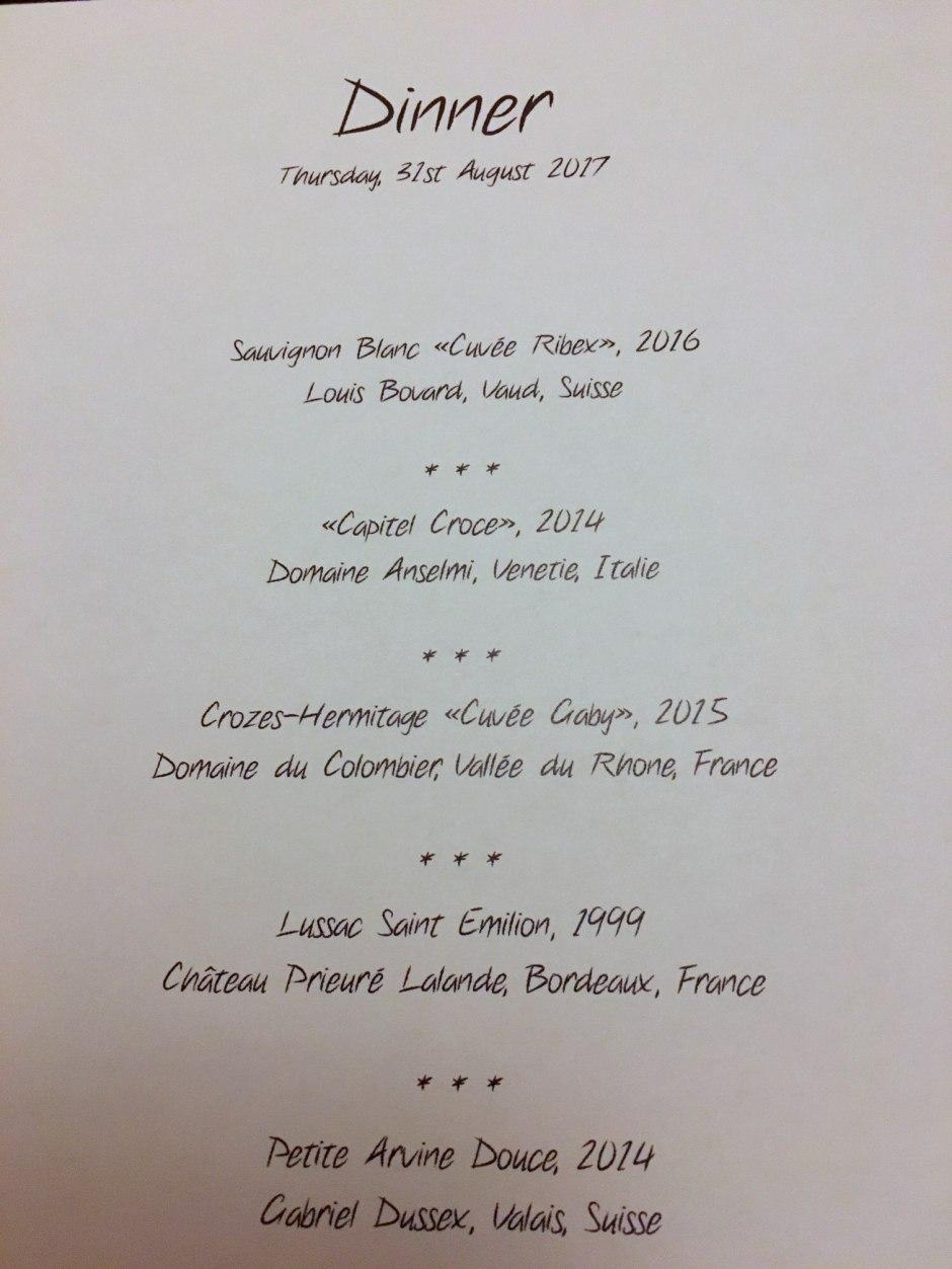 La Table d'Edgard Wine Pairing Menu