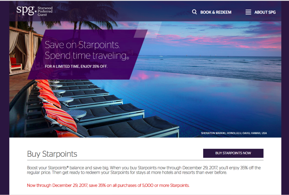SPG: Buy Starpoints at 35% Discount
