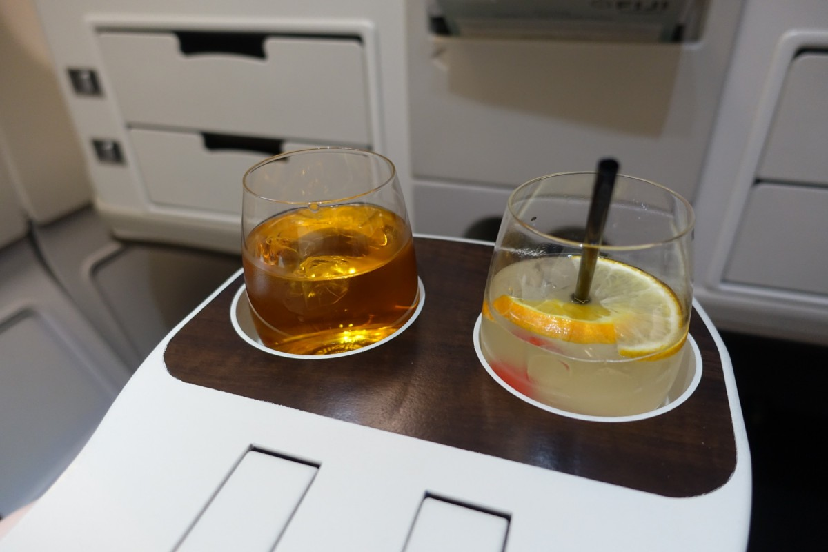Pre-Flight Welcome Drinks, Fiji Airways Business Class Review