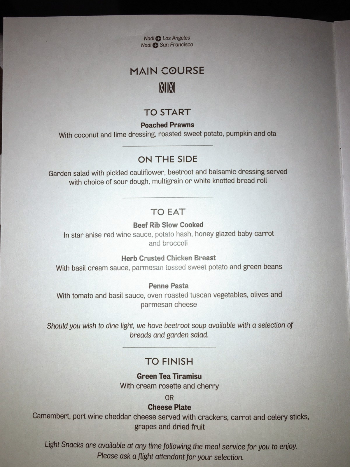 Fiji Airways Business Class Dinner Menu NAN-LAX