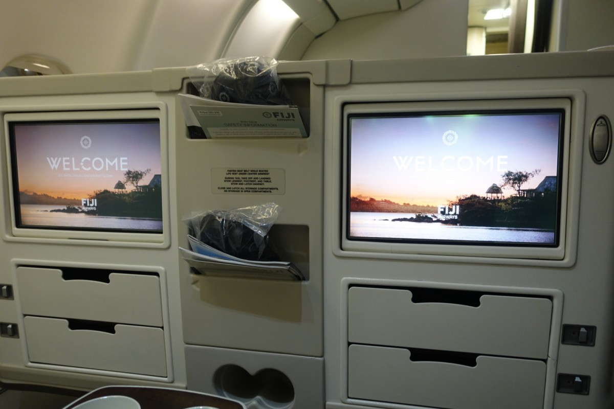 Fiji Airways Business Class-Small Storage Compartments Below IFE Screen