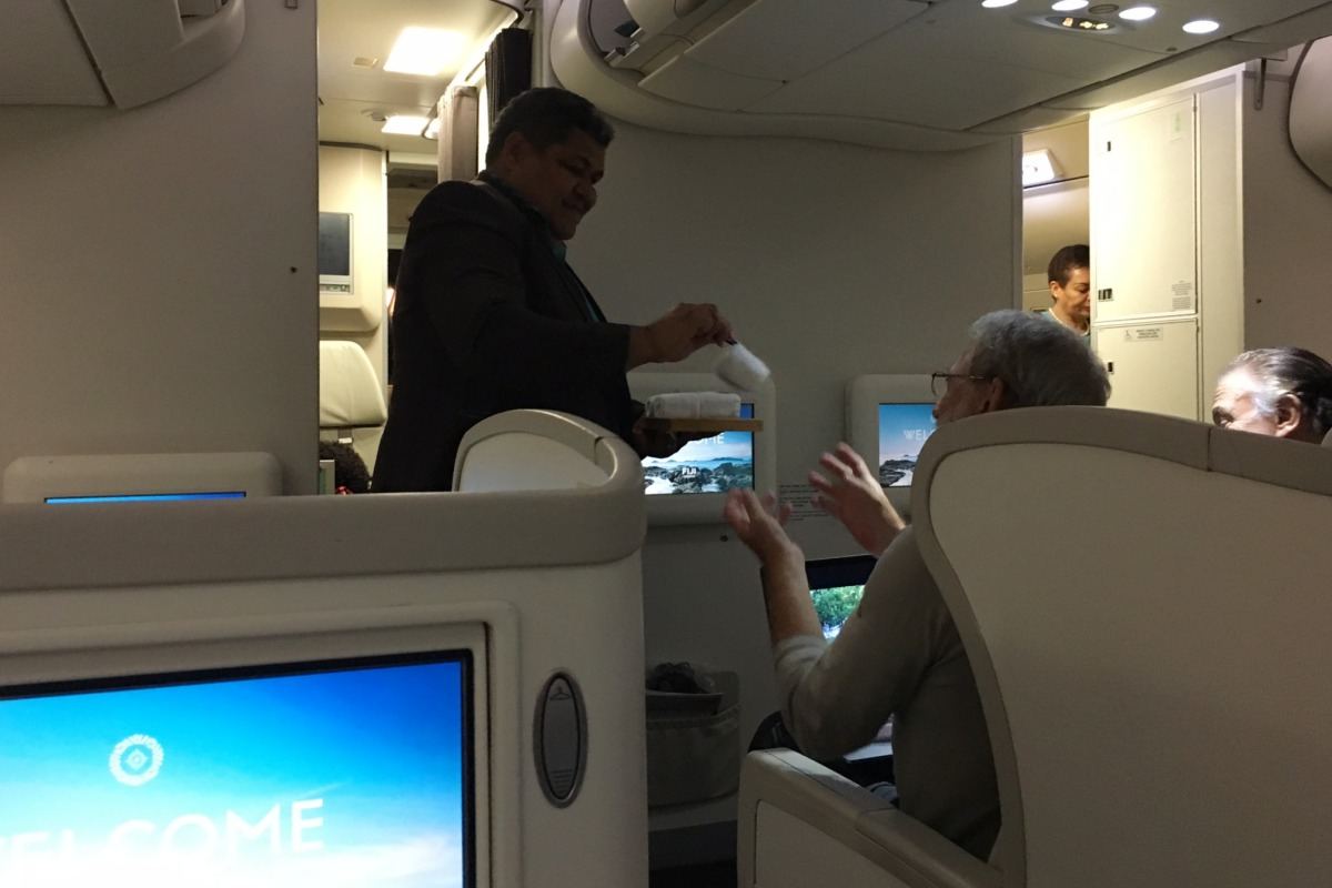 Fiji Airways Business Class Review-Hot Towel Service