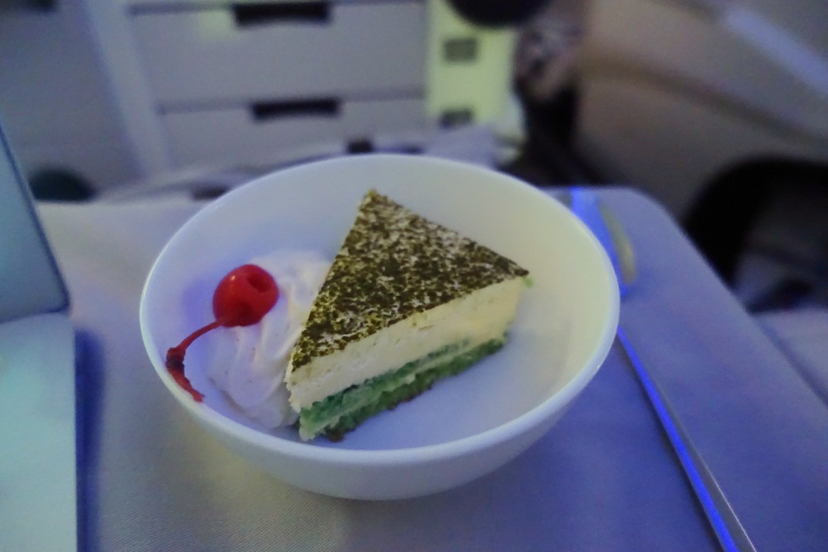 Green Tea Tiramisu, Fiji Airways Business Class Review