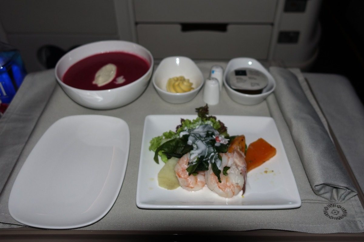 Poached Prawns Appetizer and Beetroot Soup, Fiji Business Class Review