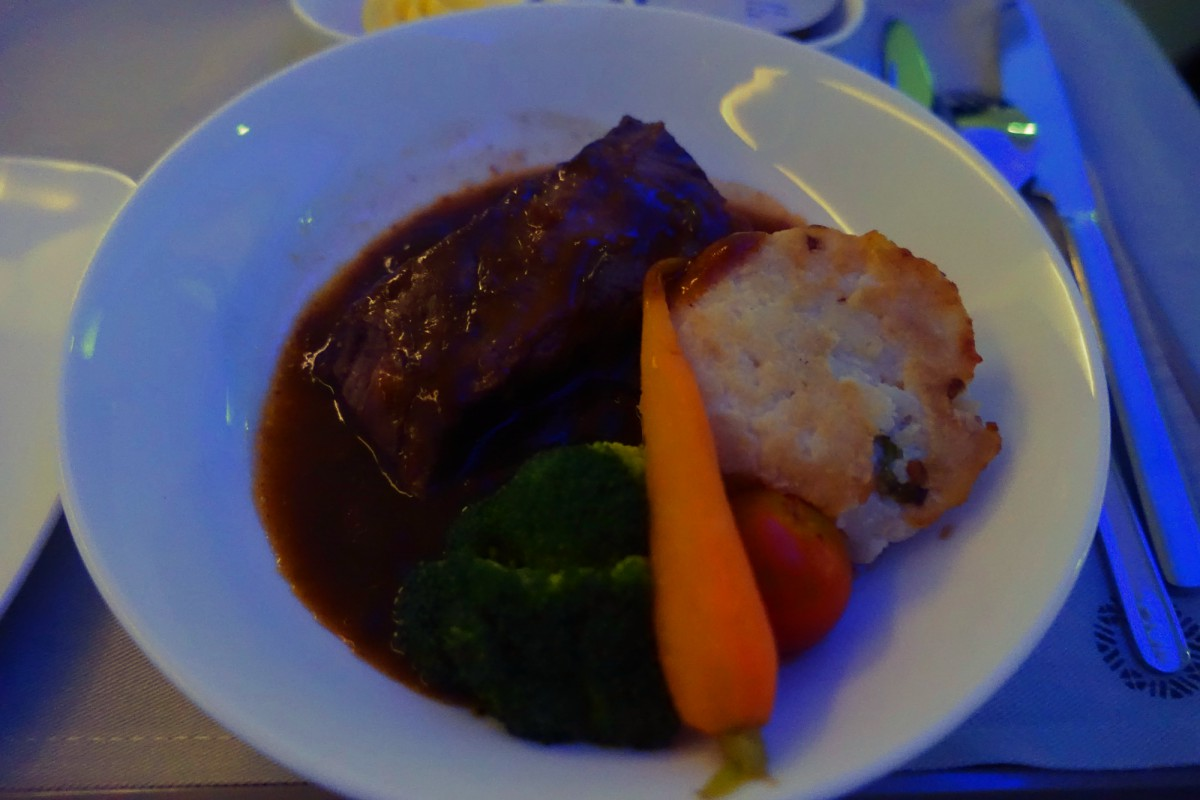 Beef Ribs Dinner, Fiji Airways Business Class Review