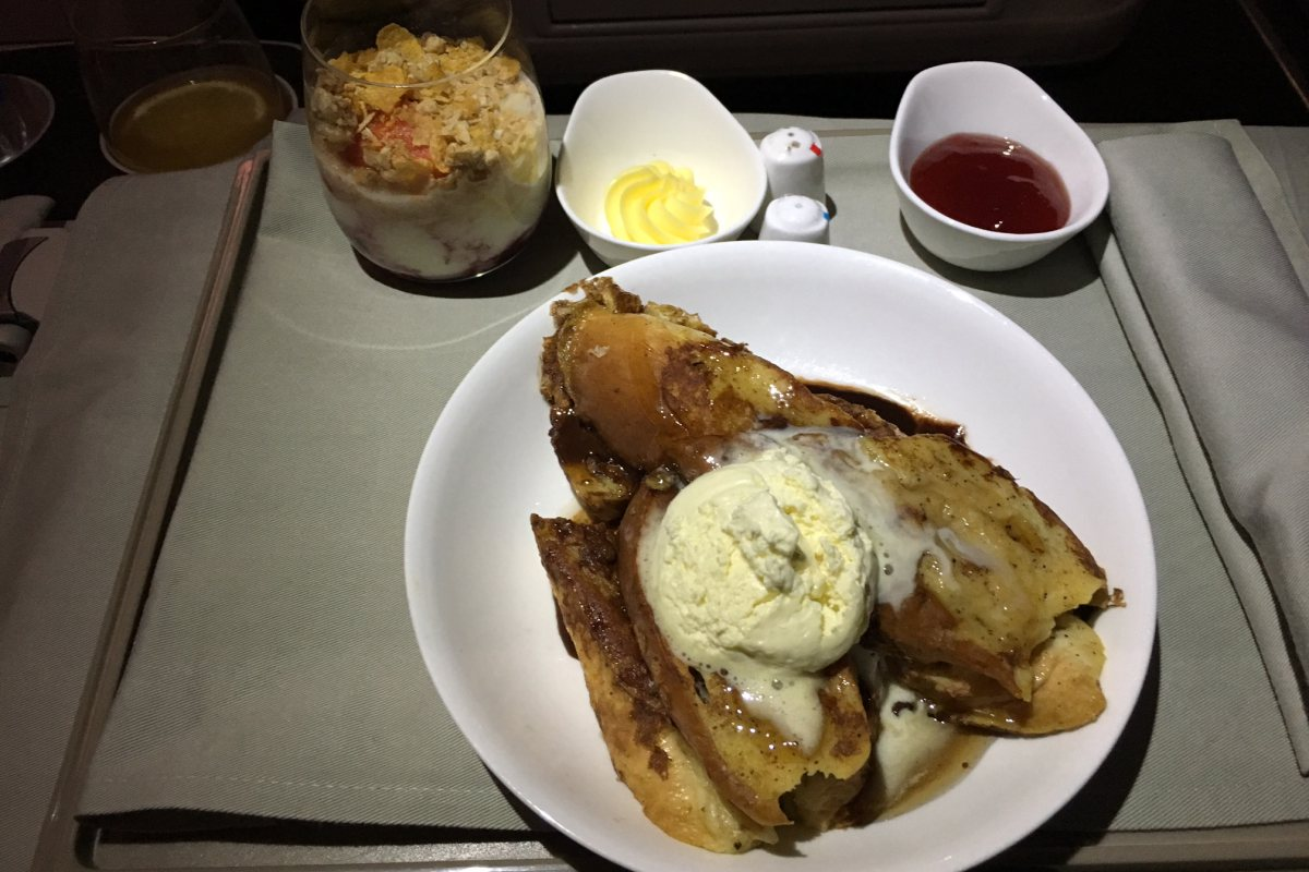 Hazelnut French Toast, Fiji Airways Business Class Breakfast Review