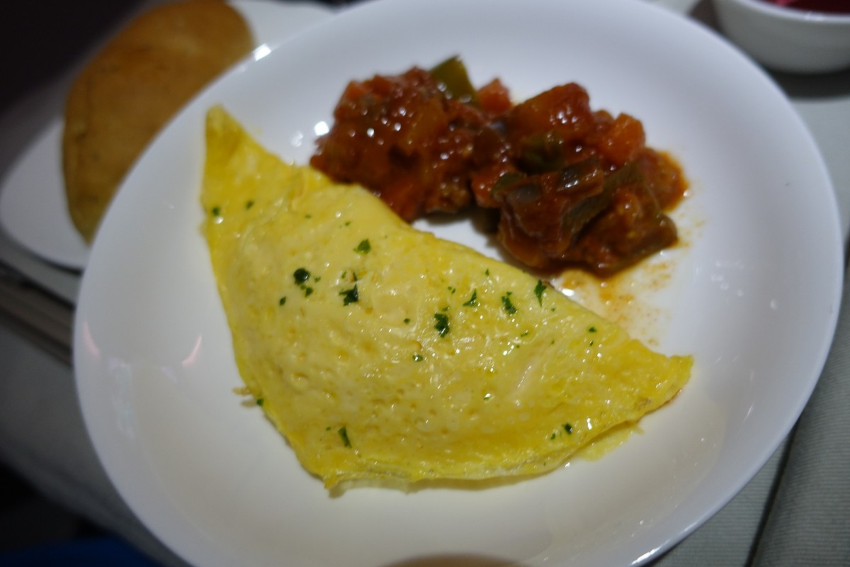 Omelet with Ratatouille, Fiji Airways Business Class Review