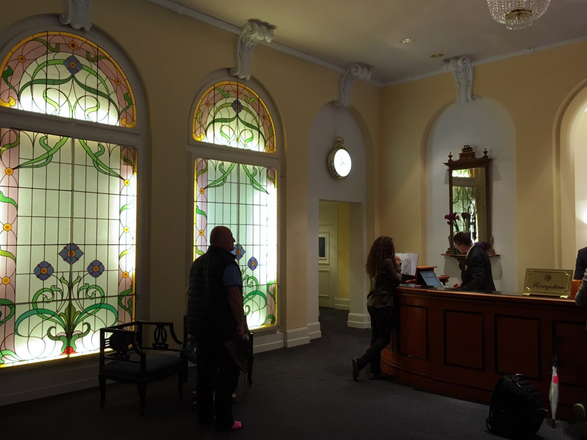 Stained Glass by Reception, Victoria-Jungfrau Hotel Review