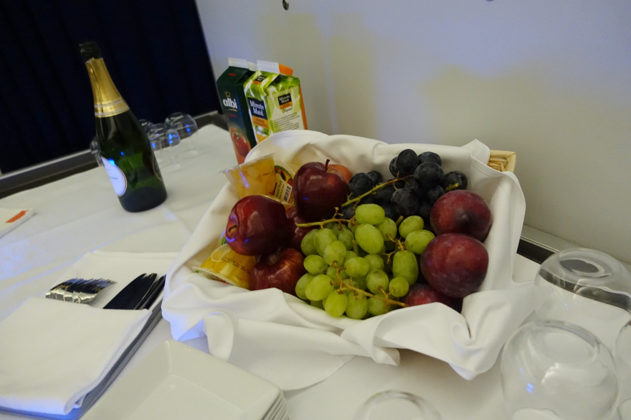 Fresh Fruit and Champagne Provided at Beginning of Meal Service