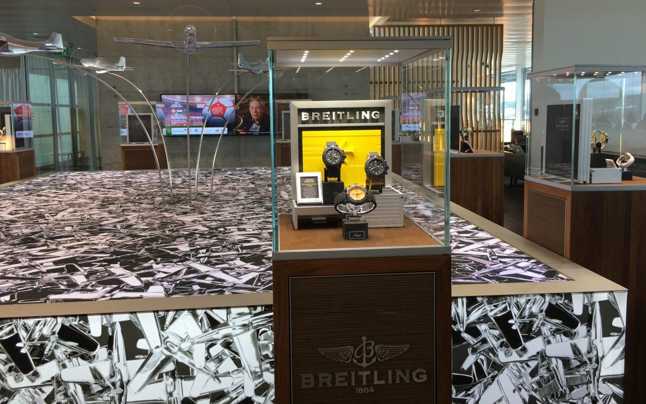 Breitling Watch Display, Swiss Business Class Lounge Zurich Review