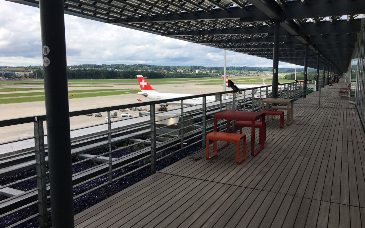 Outdoor Terrace, Swiss Business Class Lounge Zurich Review