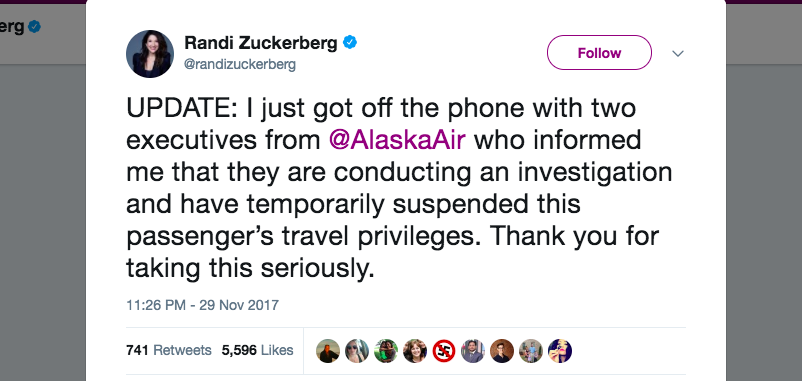 Randi Zuckerberg Alaska Airlines Sexual Harassment Twitter Update