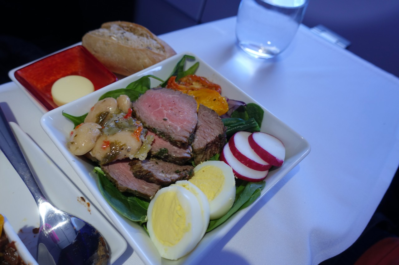 Beef Salad, Virgin America First Class Review