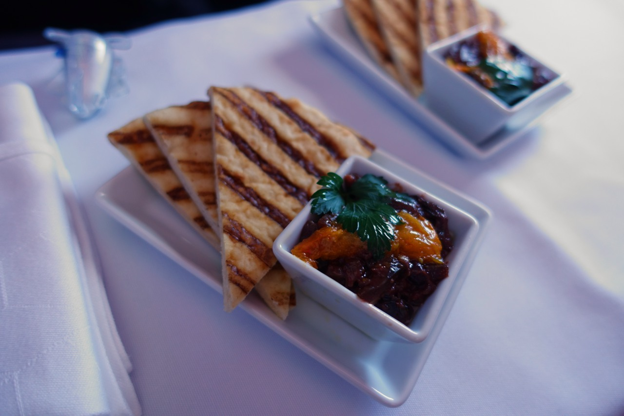 Eggplant Caponata Appetizer, Virgin America First Class Review